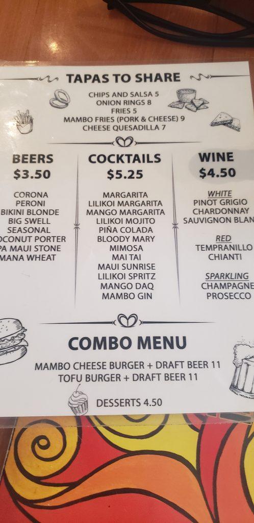 Happy Hour menu and times at Cafe Mambo Maui