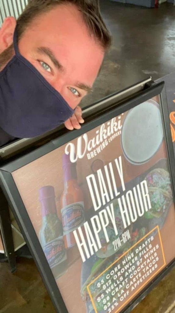 Maui Bartender Chris McKinney at Waikiki Brewing Company Wailea Hawaii