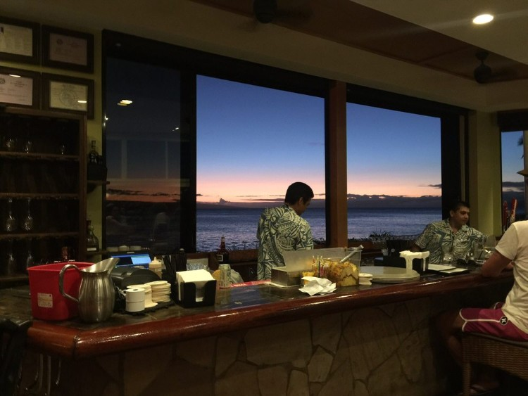 Sea house maui sunset view from the bar
