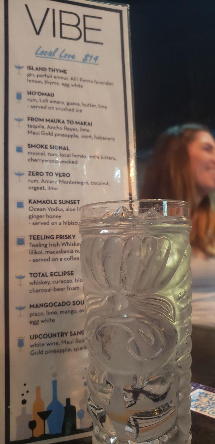 Vibe bar cocktails menu 1