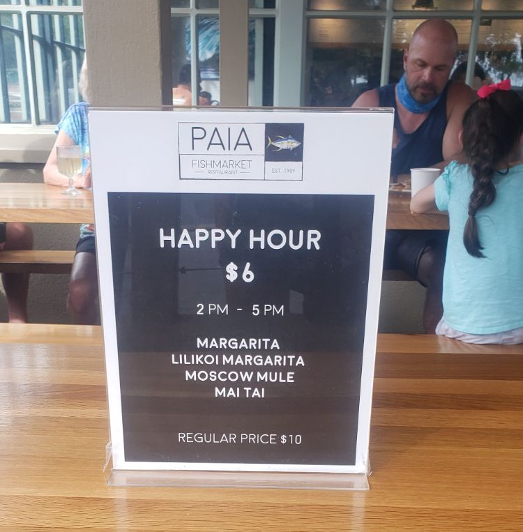 Happy hour menu Paia Fishmarket Lahaina