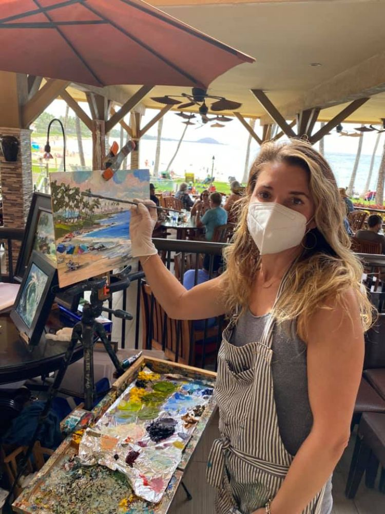 Artist painting with covid mask