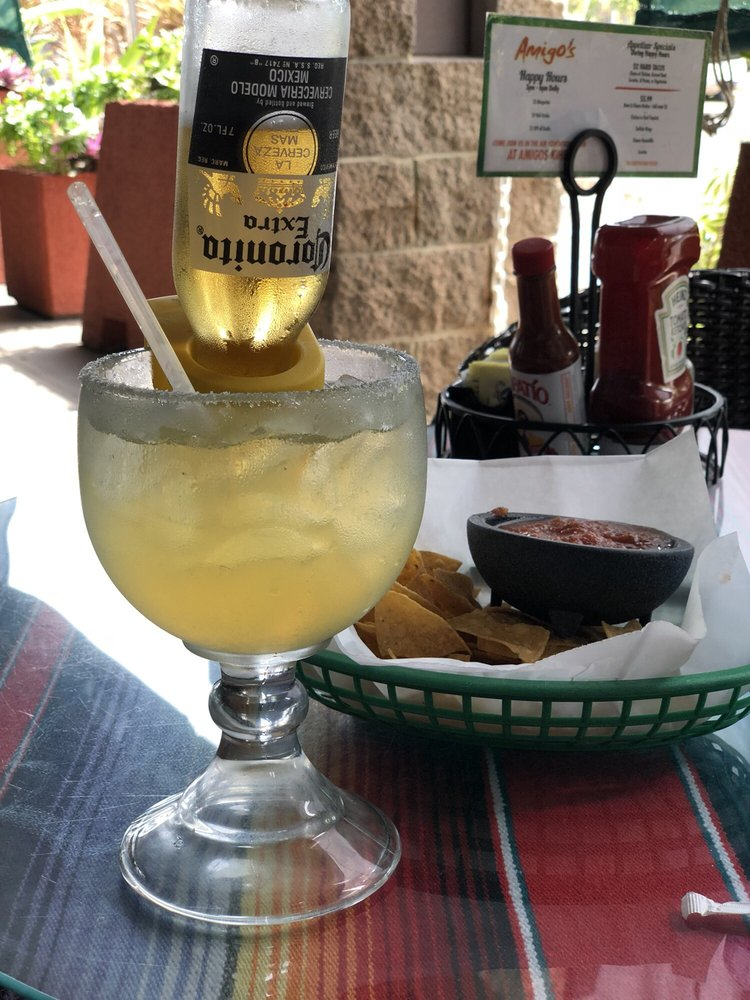 Coronarita Happy Hour Margarita With Coronita small Corona beer at Amigos Mexican Restaurant Maui