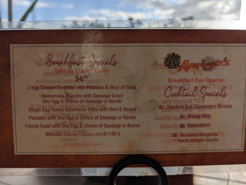 Breakfast happy hour menu at Amigos Maui