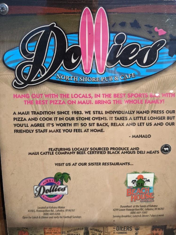 Dollies restaurant menu Maui
