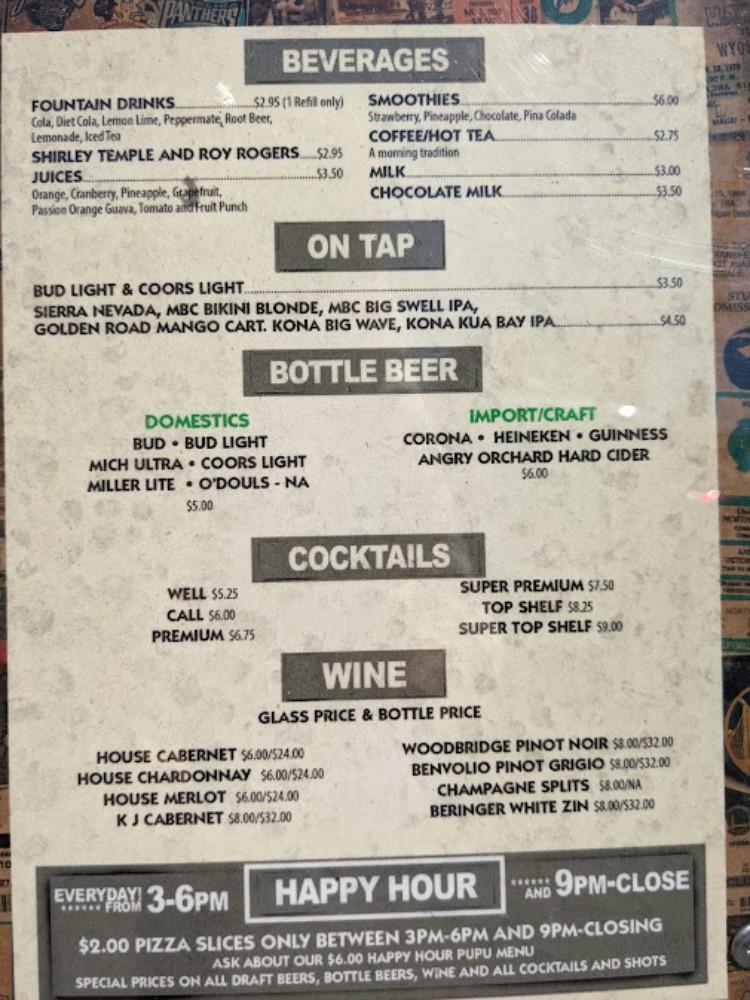 Dollies North Shore drink menu