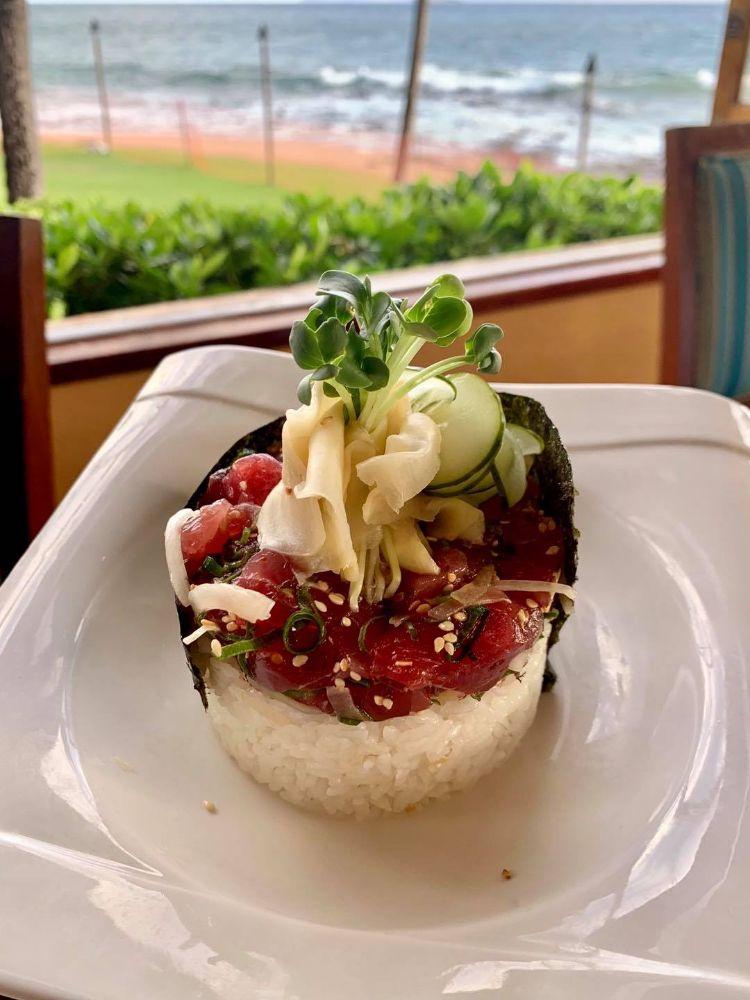 Ahi poke with rice at 5 Palms Restaurant Kihei