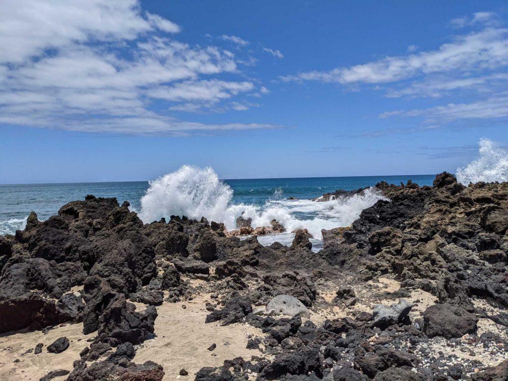 Waves crashing in Hawaii