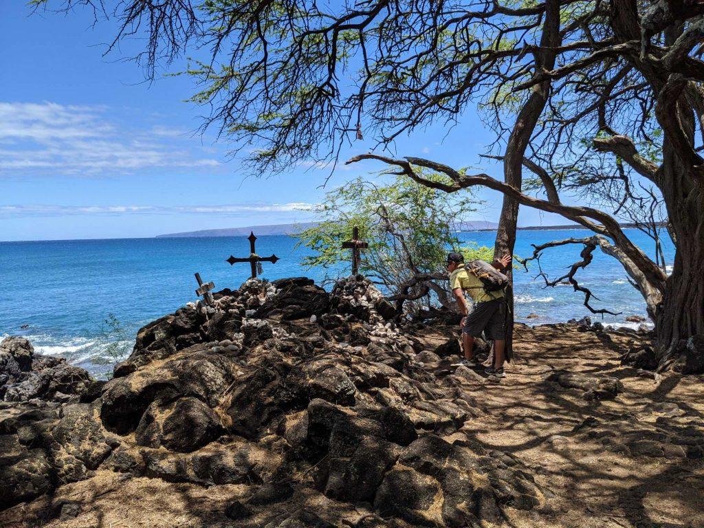 Memorial crosses at La Perouse Maui