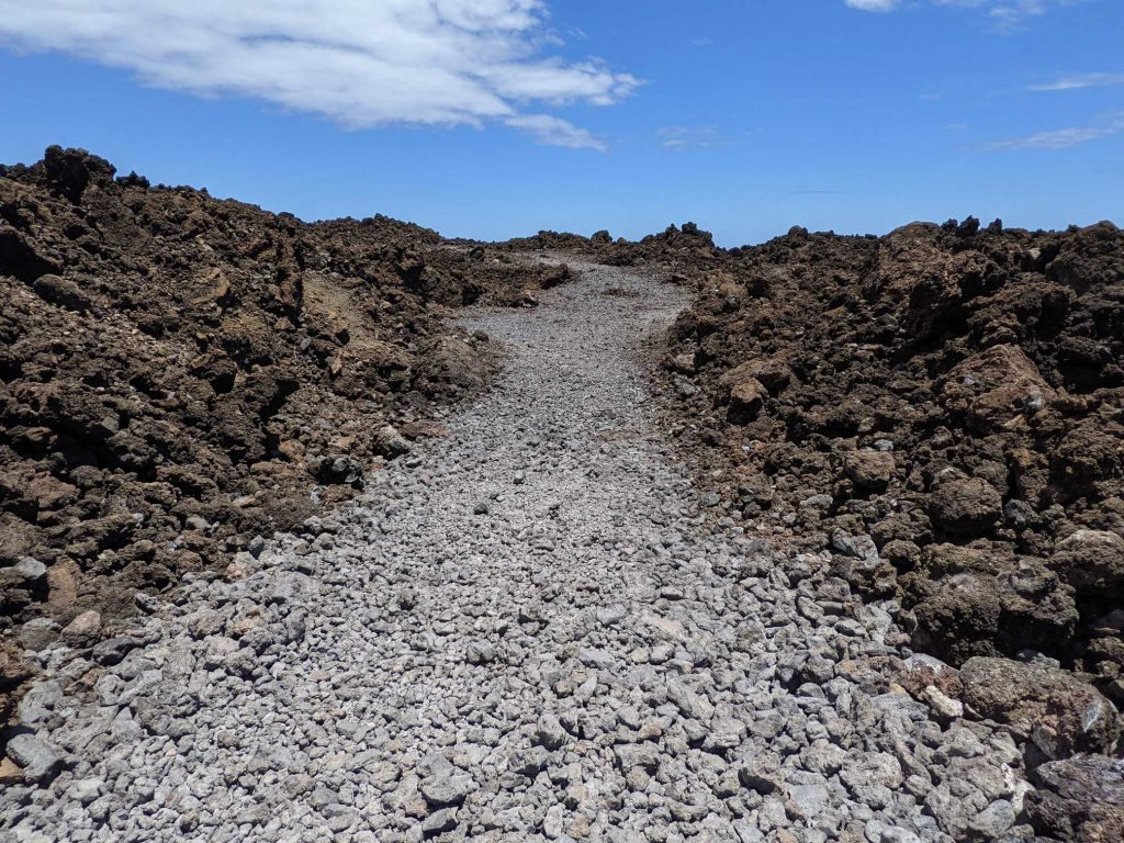 Lava fields hike with beautiful blue skies