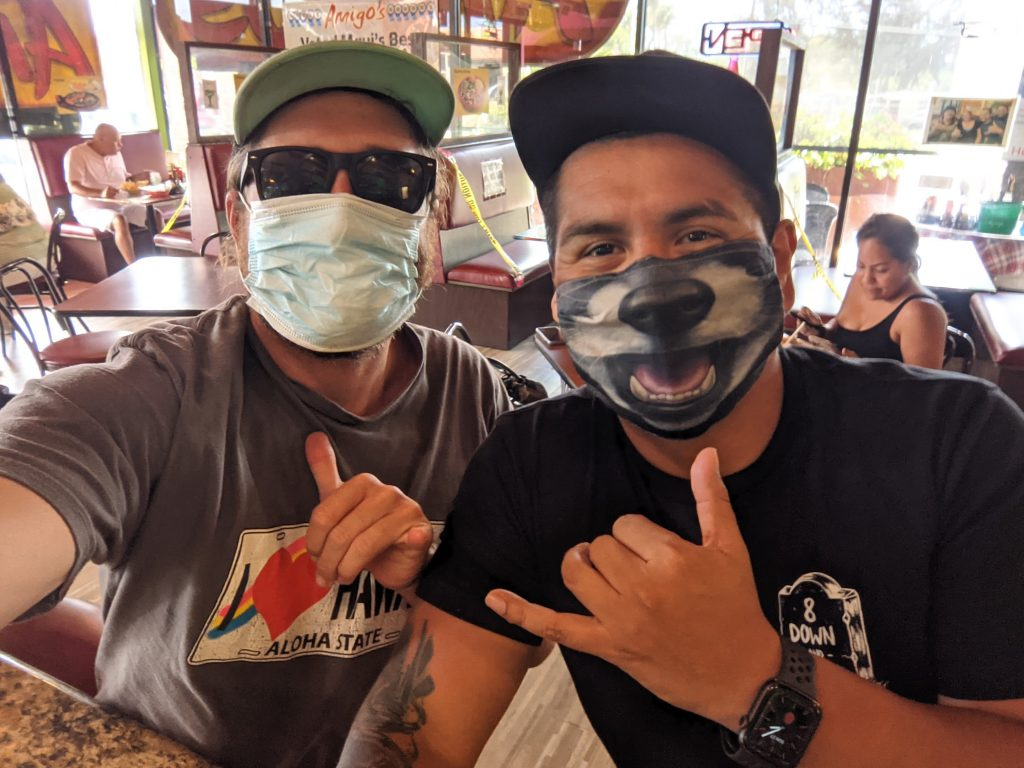 Maui Happy Hours - Russell Snyder and Sal Sanchez - Surgical Mask and Panda Mask