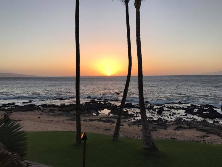 Sunset view at 5 Palms Restaurant Maui