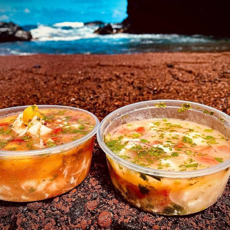 Ceviche at Red Sand Beach Maui Hawaii
