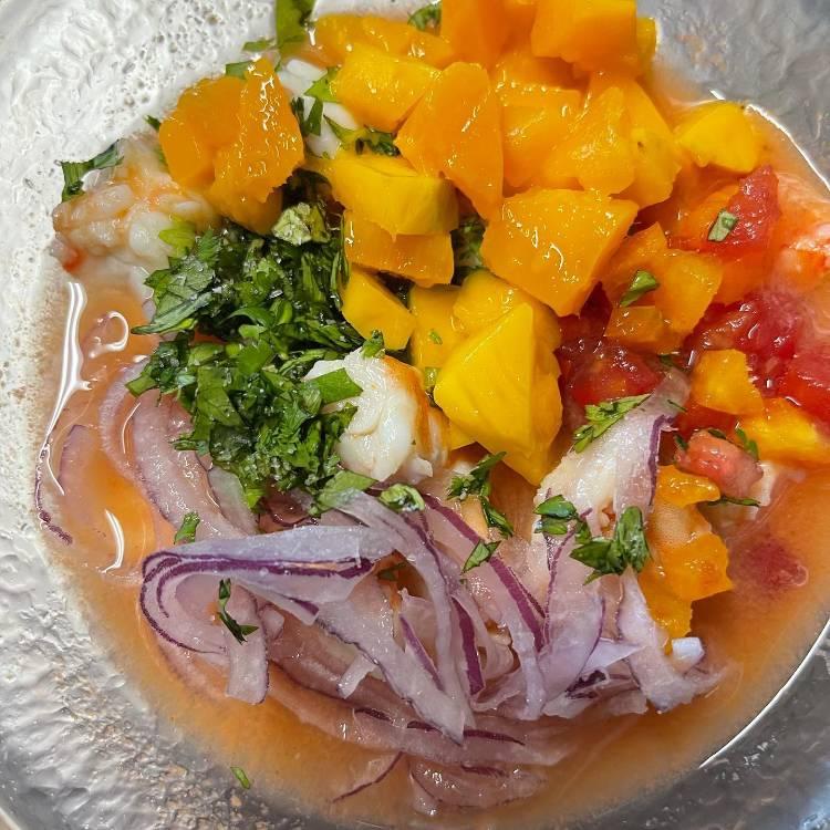 Shrimp ceviche with mango, cilantro, red onion