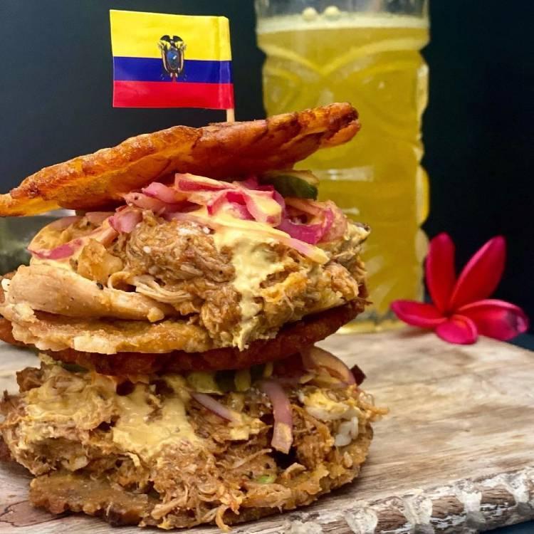 Ecuadorian food - pulled pork sandwich on patacones