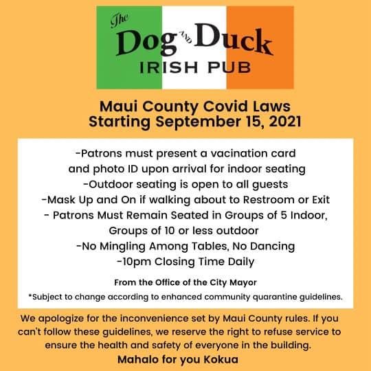 Dog and Duck Irish Pub Kihei COVID flyer