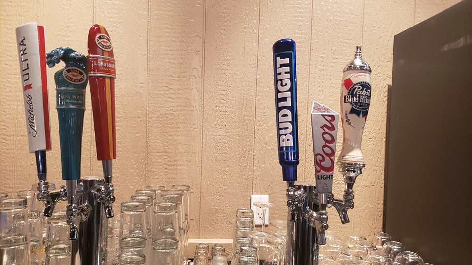 Happy hour draft beers - Bud Light, Michelob Ultra, Pabst Blue Ribbon, Longboard, Big Wave