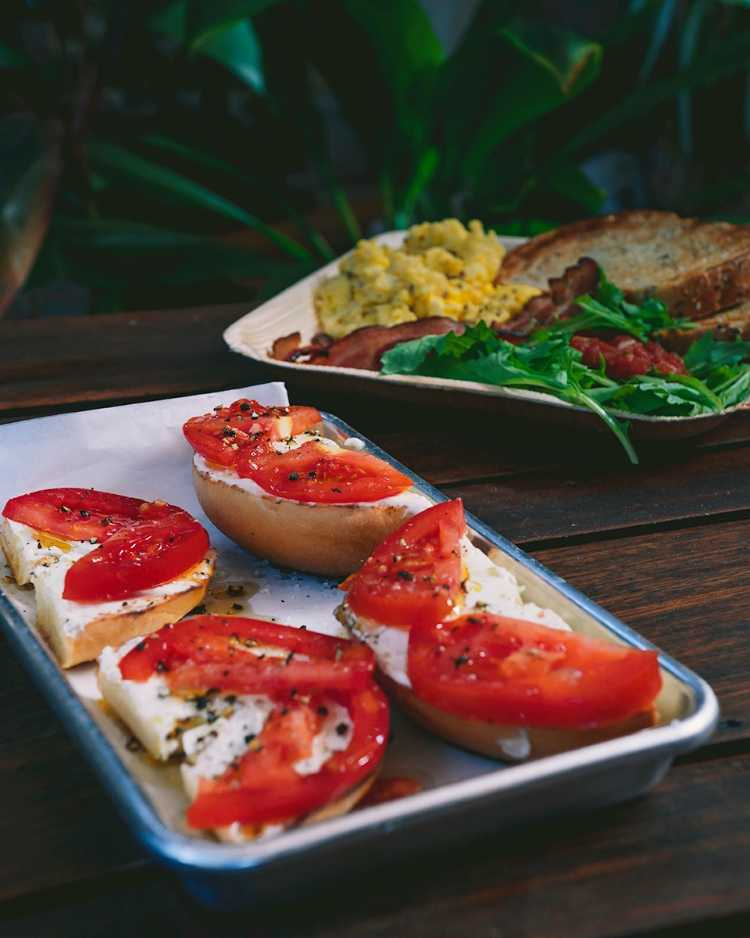 Bagels and breakfast plate at Paia Bay Coffee Maui HI