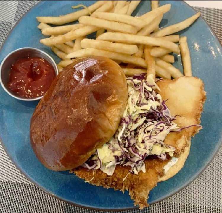 Fish Sandwich Happy hour at Southshore Grindz Kihei HI Maui restaurant