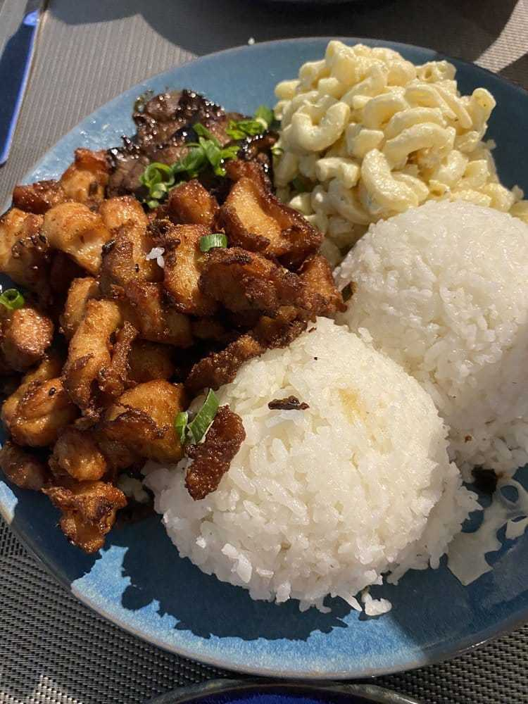 Hawaiian plate lunch - teriyaki chicken - Happy hour at Southshore Grindz Kihei HI Maui restaurant