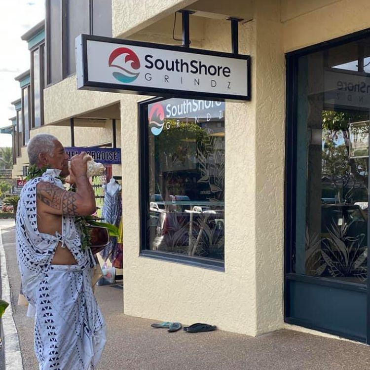 Hawaiian blessing ceremony at Southshore Grindz Kihei HI Maui restaurant Hawaii culture