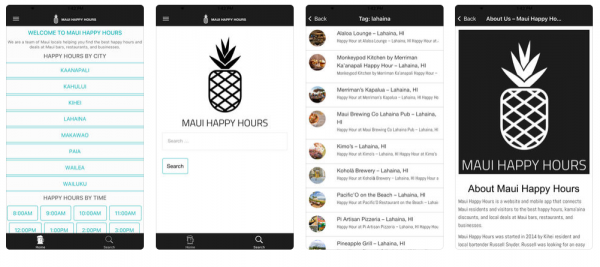 screenshots from maui happy hours app - team of maui locals in kihei hi